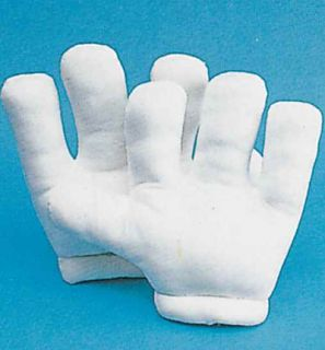 New Giant White Cartoon Character Costume Gloves Hands Mitts Halloween