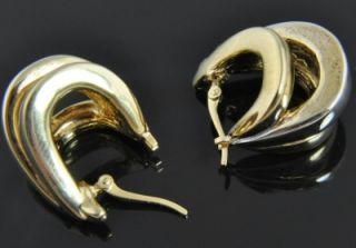 Carla Two Tone 14k Gold Triple Stripe Oval Polished Huggie Classic