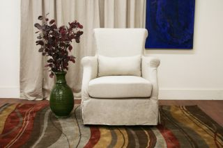 carradine beige linen slipcover modern club chair click each picture