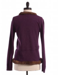 Valentino Wool Cashmere Blend Sweater with Mink Trim Top Purple Shirt