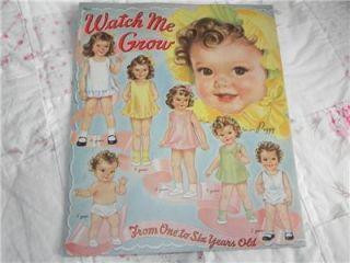 1944 Vintage Merrill Paper Doll Book Watch Me Grown Uncut