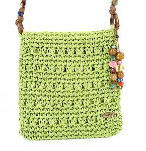Cappelli Toyo Straw Crossbody Shoulder Bag in Lime Green