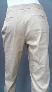 York Ladies Womens 8 Stretch Dress Capri Pants Khaki Pinstripe Slacks