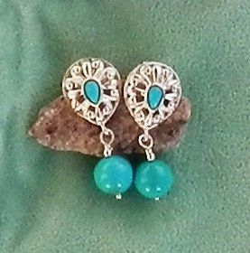 Carolyn Pollack Relios Blue Turquoise Earrings
