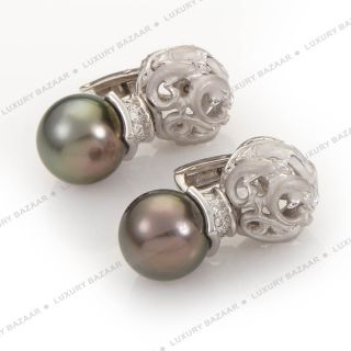 Carrera Y Carrera 18K White Gold Diamond and Pearl Dolphin Earrings