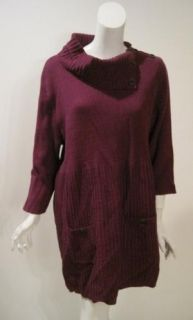 Style Co Woman Plus Size Plum Button Neck Sweater Dress $49 New