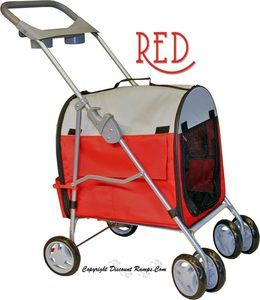 NEW RED FOLDING CAT STROLLER CARRIER DOG STROLLERS CATS (PET STR 9 RED