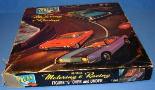 ATLAS HO SCALE SLOT CAR RACING TRACK SET OVER & UNDER 1202 IMPALA STAR