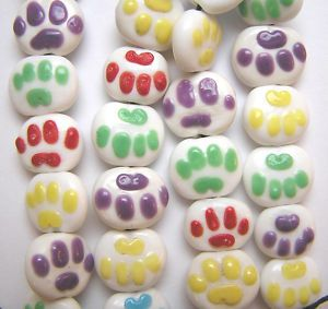 Animal Dog Doggy Kitty Cat Paw Print Glass Beads 13 Beads