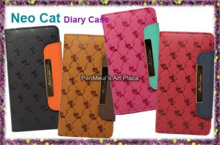 Samsung Galaxy S2 i9100 Cell Phone PU Leather Case Cover Neocat Wallet