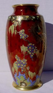 Carlton Ware Red Blush Bird of Paradise Tree 10 25 Vase