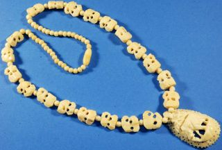 Vintage Hand Carved Faux Ivory Elephant Necklace