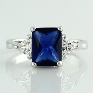 Blue Sapphire 2 5 Carat Emerald Cut Silver CZ Engagement Wedding Ring