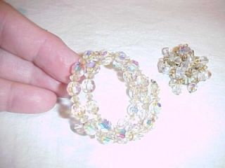 Vintage Aurora Borealis Small Bracelet Clip Earrings