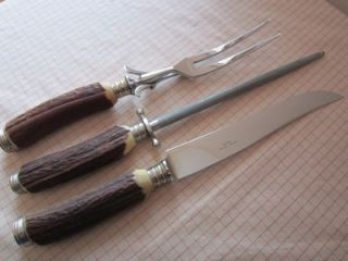 PC Solingen Germany Carving Set Stag Horn Handles Ssteel Fork Knife