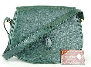 CARTIER PARIS GREEN LEATHER SHOULDER BAG PURSE MADE IN ITALY w CARD