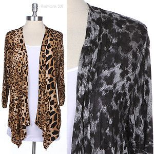 Junior Plus Size Leopard Print Long Sleeve Open Draped Cardigan Casual