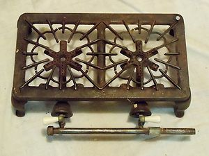 GRISWOLD 402 Cast Iron Tabletop 2 two burner gas stove hotplate