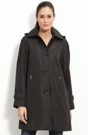 Andrew Marc New York Caroll Raincoat Jacket w Zip Out Liner XS Black $