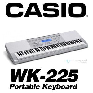 Casio WK 225 76 Key Portable Electronic Keyboard Piano w A C Adapter