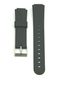 New Casio Style Black Rubber Watch Band 15 16 mm Stainless Steel