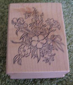 GGH Custom Unused Rubber Mounted Wood Stamp Wild Flowers