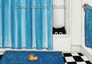 Black Cat Shower Curtain Rubber Duck Art Le ACEO Print