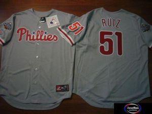 Majestic Phillies Carlos Ruiz Sewn 2008 World Series Baseball Jersey