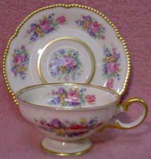 Castleton China Castleton Rose Pattern Demitasse Cup Saucer Set