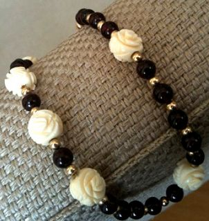Faux Hand Carved Ivory Bead Vintage Estate Red Garnet Necklace w Gold