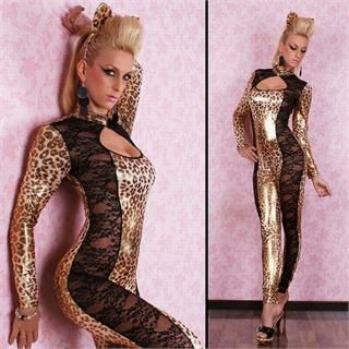 Animal Print Lace Fancy Catsuits Cosplays Costume UK 8 10 12