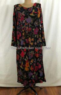 Vtg New Carole Little Cloisonne Multicolor Floral German Rayon Dress