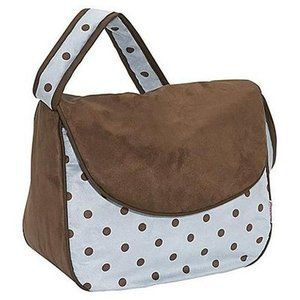 NEW 75 Hoohobbers Messenger Diaper Bag Blue and Brown Polka Dots NWOT