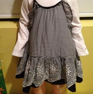Catimini Black White Dress Long Sleeves Elegant 18 M
