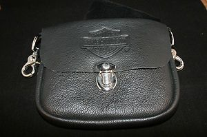 Harley Davidson Womens Black Leather Hip Belt Bag Purse Wallet Pouch