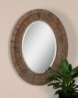 carrollton oval large natural wood wall mirror