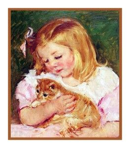 Impressionist Mary Cassatts Sara Holding Cat Counted Cross Stitch