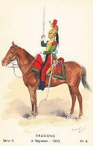 1833 Dragons French Army Cavalry Uniform Art Card