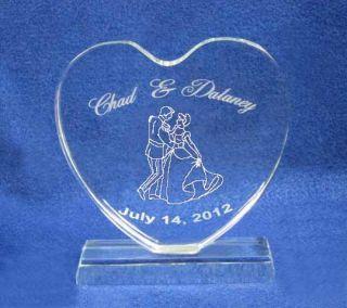 Cinderella Crystal Heart Wedding Cake Topper Engraved
