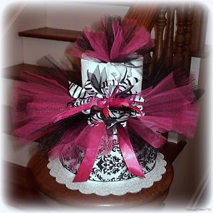 Zebra Tutu Diaper Cake Baby Shower Centerpiece Gift Girl Ribbon