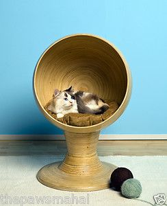Kitty Ball Bamboo Elevated Cat Bed Tower with Washable Cushion
