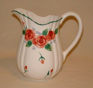 Ceramic Water Pitcher Decorative w Pink Roses Stamped Mary Ann Baker