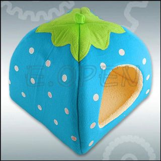 Cute Strawberry Sponge Pet Cat Dog House Kennel Doggy Warm Cushion