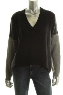 Cece New Black Cashmere V Neck Long Sleeves Hi Low Pullover Sweater