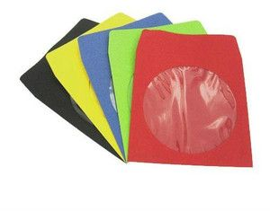 100pcs Color CD DVD Sleeves Paper w Clear Window Blue Green Yellow Red