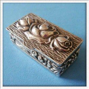 Vintage Sterling SILVER Flower Rose Fruits Cereals Gilded Pill Box