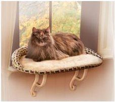 Deluxe Kitty Sill Cat Window Perch with Bolster Unheated