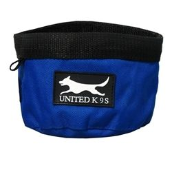 Blue Canvas Dog Cat Food and Water Bowl Dish Hiking