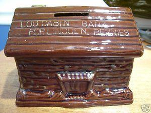 Cedar Point Amusement Park Souvenir Log Cabin Bank 1950s 1960s Ceramic