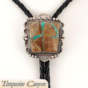 Navajo Native American Cerrillos Boulder Turquoise Bolo Tie SKU 225050